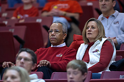 31 December 2009: Illinois State University President Dr. Al Bowman and wife Linda. The Bulldogs of Drake fall to the Redbirds of Illinois State University by a score of 77-58in a Missouri Valley Conference game on Doug Collins Court in Redbird Arena in Normal Illinois.