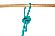 Running Bowline knot a slip noose which will not bind on white background