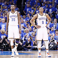 12 June 2012: Oklahoma City Thunder small forward Kevin Durant (35) and Oklahoma City Thunder point guard Russell Westbrook (0) rest during the Oklahoma City Thunder 105-94 victory over the Miami Heat, in Game 1 of the 2012 NBA Finals, at the Chesapeake Energy Arena, Oklahoma City, Oklahoma, USA.