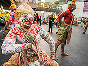 "14 JANUARY 2015 - BANGKOK, THAILAND:  The Thai monkey army, popular characters from Thai mythology, march during the 2015 Discover Thainess parade. The Tourism Authority of Thailand (TAT) sponsored the opening ceremony of the ""2015 Discover Thainess"" Campaign with a 3.5-kilometre parade through central Bangkok. The parade featured cultural shows from several parts of Thailand. Part of the ""2015 Discover Thainess"" campaign is a showcase of Thailand's culture and natural heritage and is divided into five categories that match the major regions of Thailand – Central Region, North, Northeast, East and South.    PHOTO BY JACK KURTZ"