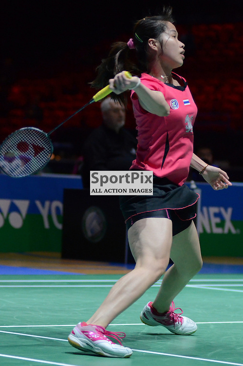 Thailand's Ratchanok Intanon (5th Seed) during her victory over Singapore's Juan Gu in the 1st Round of the Women's Singles at the Yonex All England Open Badminton Championship at the National Indoor Arena, Birmingham on Wednesday 5th March 2014 (c) Garry Griffiths | SportPix.org.uk