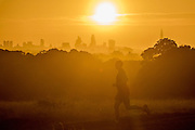 UNITED KINGDOM, London: 04 August 2015 An early morning jogger takes a run through Richmond Park this morning in front of the London landscape and a rising sun . Rick Findler / Story Picture Agency