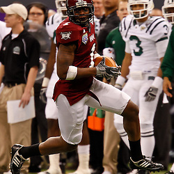 December 18, 2010; New Orleans, LA, USA; Troy Trojans wide receiver Brett Moncrief (1) against the Ohio Bobcats during the 2010 New Orleans Bowl at the Louisiana Superdome. Troy defeated Ohio 48-21. Mandatory Credit: Derick E. Hingle