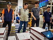 07 JUNE 2018 - SEOUL, SOUTH KOREA:  Buyers at a wholesale fish auction in the Noryangjin Fish Market. The auctions start about 01.00 AM and last until 05.00 AM. Noryangjin Fish Market is the largest fish market in Seoul and has been in operation since 1927. It opened in the current location in 1971 and was renovated in 2015. The market serves both retail and wholesale customers and has become a tourist attraction in recent years.    PHOTO BY JACK KURTZ
