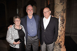 Left to right, GEORGINA WADE, JOHN CLEESE and PAT WADE at a private view of a new collection of bronzes and original paintings by artist Jonathan Wylder and his muse Jennifer wade held at the V&A Museum, London on 27th April 2011.