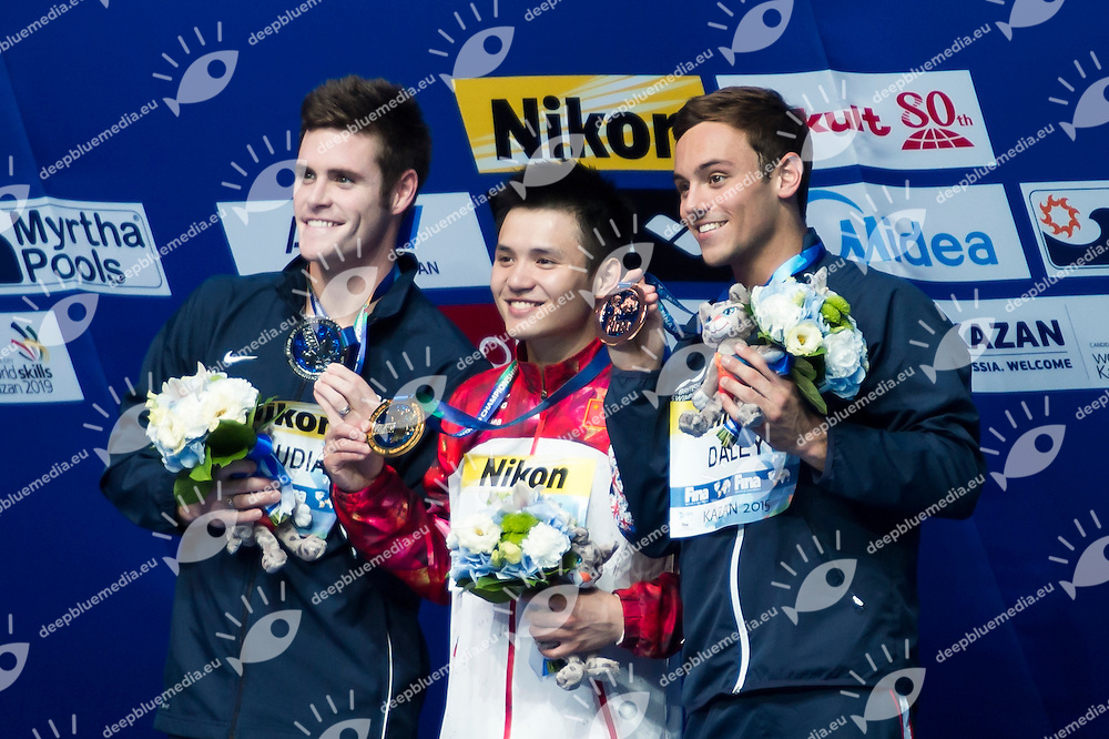 QIU Bo CHN gold medal, BOUDIA David USA silver medal, DALEY Thomas GBR bronze medal<br /> Diving - Men's 10m Platform final<br /> Day 10 02/08/2015<br /> XVI FINA World Championships Aquatics Swimming<br /> Kazan Tatarstan RUS July 24 - Aug. 9 2015 <br /> Photo Giorgio Perottino/Deepbluemedia/Insidefoto