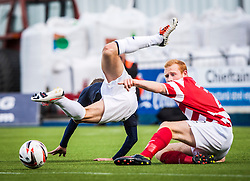 Falkirk's Rory Loy is tackled by Hamilton's Ziggy Gordon.<br /> Falkirk 1 v 2 Hamilton, Scottish Championship 31/8/2013.<br /> &copy;Michael Schofield.