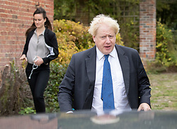 © Licensed to London News Pictures. 02/10/2018. Thame, UK. Boris Johnson and his advisor Mimi Randolph leave his Oxfordshire home. The former foreign secretary is due to speak at a fringe event at the Conservative Party Conference later . Photo credit: Peter Macdiarmid/LNP