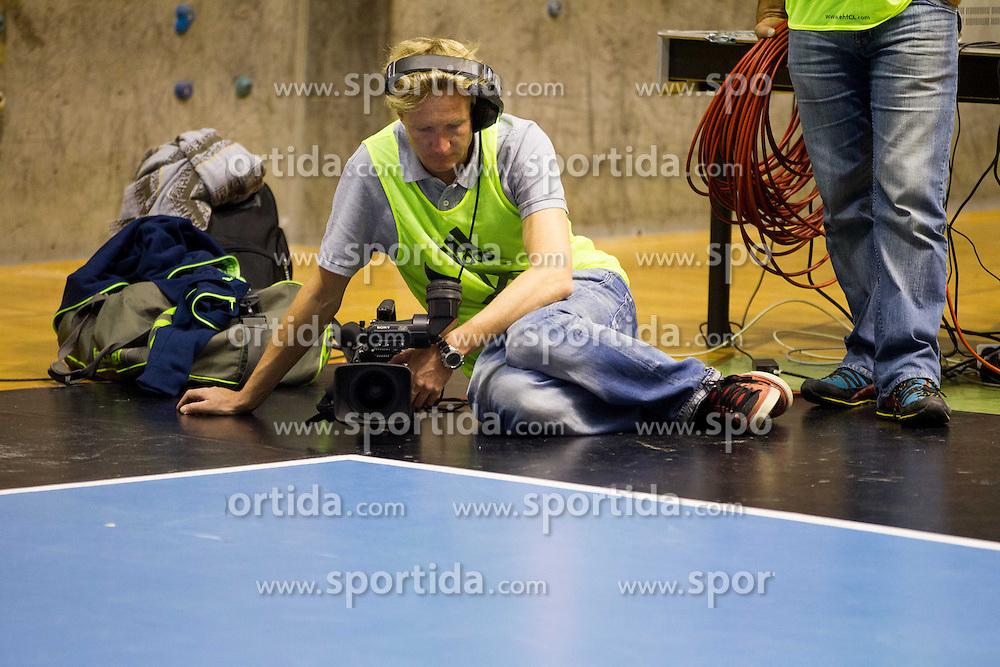 Borut Krois, TV cameraman during handball match between RK Gorenje Velenje (SLO) vs Bjerringbro-Silkeborg (DEN) in 4th Round of Group C of EHF Champions League 2012/13 on October 17, 2012 in Red hall, Velenje, Slovenia. Gorenje Velenje defeated Bjerringbro - Silkeborg 31-23. (Photo By Vid Ponikvar / Sportida)