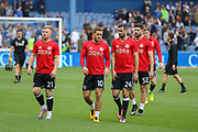 Sheffield United midfielder Mark Duffy (21), Sheffield United striker Billy Sharp (10), Sheffield United defender Danny Lafferty (24) in warm up during the EFL Sky Bet Championship match between Sheffield Wednesday and Sheffield Utd at Hillsborough, Sheffield, England on 24 September 2017. Photo by Phil Duncan.