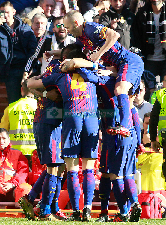 FC Barcelona's players celebrate goal during La Liga match. Madrid, Spain, on December 23, 2017. Photo by Acero/AlterPhotos/ABACAPRESS.COM