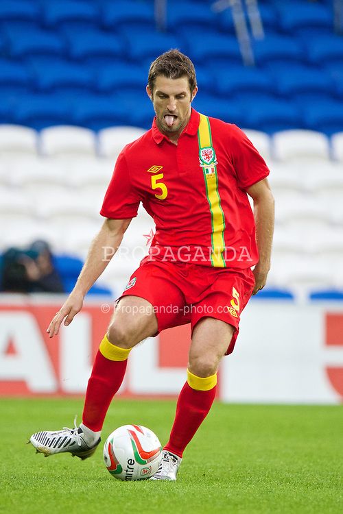 CARDIFF, WALES - Wednesday, August 14, 2013: Wales' Sam Ricketts in action against Republic of Ireland during an International Friendly at the Cardiff City Stadium. (Pic by David Rawcliffe/Propaganda)