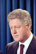 US President Bill Clinton announces the start of bombing against Serbian targets by US-led NATO forces, March 24, 1999 at the White House, Washington, DC.