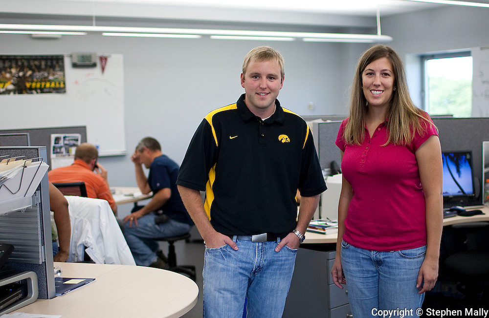UI graduates and former interns Tyler Kleene and Cassidy Whitmore (from left) at Genencor in Cedar Rapids on Friday July 24, 2009.  (Stephen Mally/Freelance)