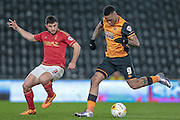 Abel Hernández (Hull City) takes a shot, but it is saved during the Sky Bet Championship match between Hull City and Nottingham Forest at the KC Stadium, Kingston upon Hull, England on 15 March 2016. Photo by Mark P Doherty.