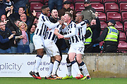 Millwall celebrate goal scored Millwall striker Steve Morison (20) to go 1-3  by during the EFL Sky Bet League 1 Play Off Second Leg match between Scunthorpe United and Millwall at Glanford Park, Scunthorpe, England on 7 May 2017. Photo by Ian Lyall.