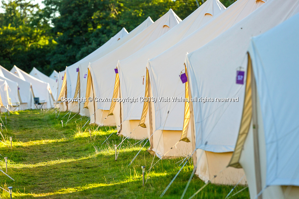 Tents at Festival No 6 site<br /> Portmeirion<br /> Camping<br /> Gwynedd<br /> North<br /> Events