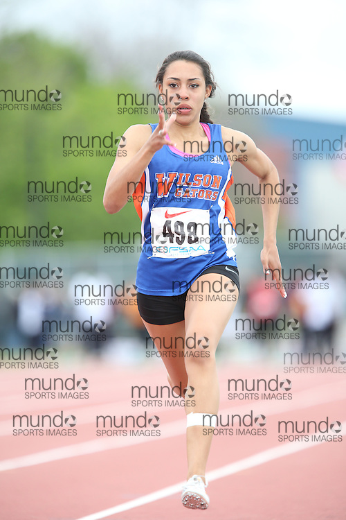 Martina Pollack of Donald A. Wilson SS - Whitby competes in the 100m heats at the 2013 OFSAA Track and Field Championship in Oshawa Ontario, Thursday,  June 6, 2013.<br /> Mundo Sport Images / Sean Burges