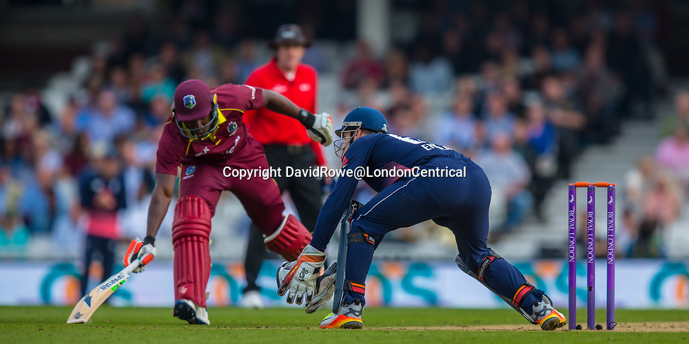 London,UK. 27 September 2017. Rovman Powell makes his ground batting for the West Indies. England v West Indies. In the fourth Royal London One Day International at the Kia Oval.