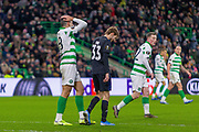 Tom Rogic of Celtic FC holds his head as his shot is tipped round the post during the Europa League match between Celtic and FC Copenhagen at Celtic Park, Glasgow, Scotland on 27 February 2020.