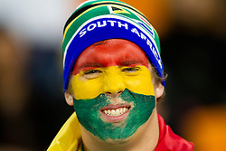 Fan of South Africa and Ghana prior to the 2010 FIFA World Cup South Africa Quarter Finals football match between Uruguay and Ghana on July 02, 2010 at Soccer City Stadium in Sowetto, suburb of Johannesburg. Uruguay defeated Ghana after penalty shots. (Photo by Vid Ponikvar / Sportida)