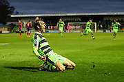 Forest Green Rovers Christian Doidge(9) celebrates his last minute goal, 2-1 during the Vanarama National League match between Forest Green Rovers and Aldershot Town at the New Lawn, Forest Green, United Kingdom on 5 November 2016. Photo by Shane Healey.
