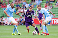 MELBOURNE, VIC - MARCH 03: Perth Glory midfielder Christopher Ikonomidis (19) competes for the ball at the round 21 Hyundai A-League soccer match between Melbourne City FC and Perth Glory on March 03, 2019 at AAMI Park, VIC. (Photo by Speed Media/Icon Sportswire)