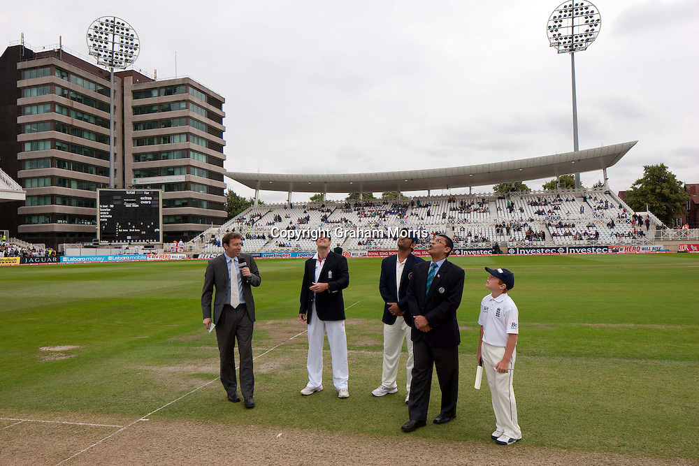 The toss before the second npower Test Match between England and India at Trent Bridge, Nottingham.  Photo: Graham Morris (Tel: +44(0)20 8969 4192 Email: sales@cricketpix.com) 29/07/11