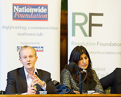 Resolution Foundation. <br /> (L-R) Ben Marshall ' Research Director, Ipsos Mori with Geeta Nanda ' Chief Executive, Thames Valley Housing Association<br /> during the Sharing the spoils: bringing home ownership into reach for low to middle income households meeting, <br /> Houses of Parliament, Westminster, London, United Kingdom. Wednesday, 20th November 2013. Picture by Elliot Franks / i-Images