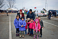 Refugees family to Idomeni village at the Greece - Macedonian border, 8 Febraury 2016. Hundreds of refugees  wait every day at a gas station used as a temporary camp outside of Polykastro city at the north part of Greece until they receive the order from the police to move to the Greece- Macedonian border and continue their trip  to North Europe.