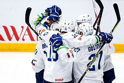 Players of Slovenia celebrate during ice hockey match between Hunngary and Kazakhstan at IIHF World Championship DIV. I Group A Kazakhstan 2019, on May 3, 2019 in Barys Arena, Nur-Sultan, Kazakhstan. Photo by Matic Klansek Velej / Sportida