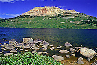 10,514 ft. Beartooth Butte and Beartooth Lake of the Beartooth Mountains and Shoshone National Forest, Wyoming.
