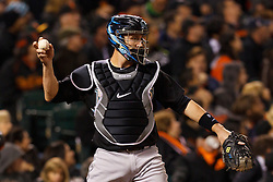 May 24, 2011; San Francisco, CA, USA;  Florida Marlins catcher John Buck (14) throws to the pitchers mound against the San Francisco Giants during the eighth inning at AT&T Park. Florida defeated San Francisco 5-1.