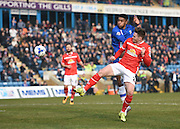 Gillingham forward, and goalscorer, Dominic Samuel takes a shot at goal during the Sky Bet League 1 match between Gillingham and Crewe Alexandra at the MEMS Priestfield Stadium, Gillingham, England on 12 March 2016. Photo by David Charbit.