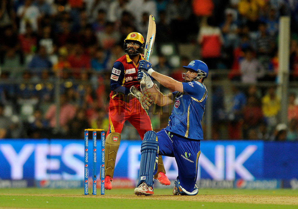 Mitchell McClenaghan of Mumbai Indians bats during match 46 of the Pepsi IPL 2015 (Indian Premier League) between The Mumbai Indians and The Royal Challengers Bangalore held at the Wankhede Stadium in Mumbai, India on the 10th May 2015.<br /> <br /> Photo by:  Pal Pillai / SPORTZPICS / IPL