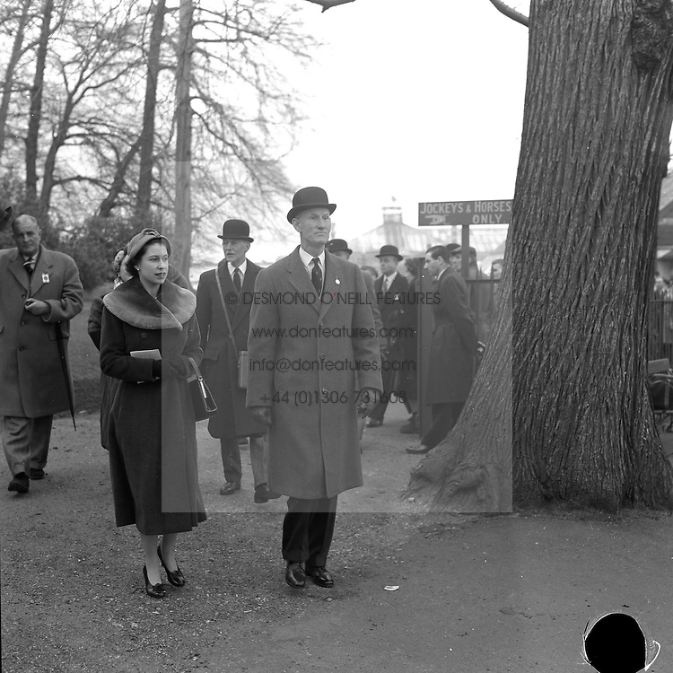 HM The Queen Elizabeth II with Gen.Sir Richard McCreery at the Grand Military Race Meeting at Sandown Park Racecourse, Esher, Surrey on 21st March 1958.