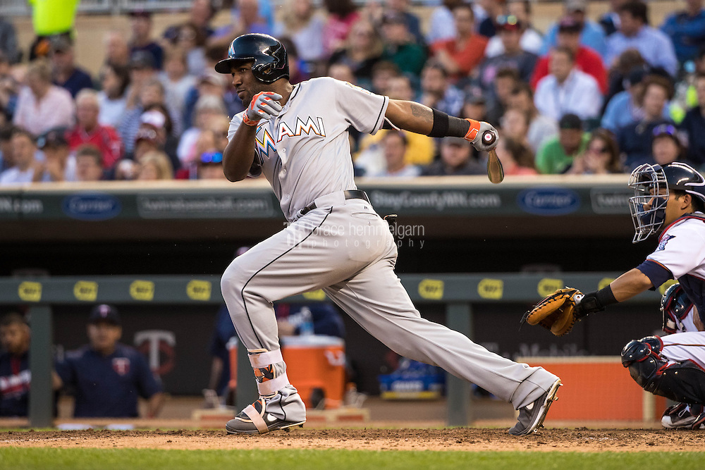 MINNEAPOLIS, MN- JUNE 07: Marcell Ozuna #13 of the Miami Marlins bats against the Minnesota Twins on June 7, 2016 at Target Field in Minneapolis, Minnesota. The Twins defeated the Marlins 6-4. (Photo by Brace Hemmelgarn) *** Local Caption *** Marcell Ozuna