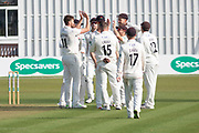 Lancashire congratulate Richard Gleeson on wicket of Colin Ackemann during the Specsavers County Champ Div 2 match between Leicestershire County Cricket Club and Lancashire County Cricket Club at the Fischer County Ground, Grace Road, Leicester, United Kingdom on 23 September 2019.