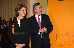 The RT.HON.GORDON BROWN MP and CECILE BONNEFOND President of Veuve Clicquot Ponsardin at a reception for the winners of the 2006 Veuve Clicquot Award - Business Woman of the Year held at Claridge's Hotel, brook Street, London on 27th April 2006.  This years winner was Vivienne Cox, BP CEO for Gas, Power, Renewables and Integrated Supply & Trading.  The awards were presented by the Rt.Hon.Gordon Brown MP - The Chancellor of the Exchequer.<br />