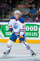 PENTICTON, CANADA - SEPTEMBER 9: William Lagesson #89 of Edmonton Oilers skates against the Winnipeg Jets on September 9, 2017 at the South Okanagan Event Centre in Penticton, British Columbia, Canada.  (Photo by Marissa Baecker/Shoot the Breeze)  *** Local Caption ***