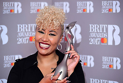 Emeli Sande with her award for Best British Female Solo Artist in the press room during the Brit Awards at the O2 Arena, London. PRESS ASSOCIATION Photo. Picture date: Wednesday February 22, 2017. See PA story SHOWBIZ Brits. Photo credit should read: Ian West/PA Wire. Editorial Use Only - No Merchandising