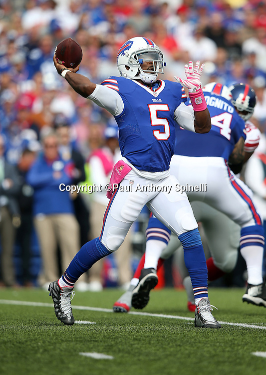 Buffalo Bills quarterback Tyrod Taylor (5) throws a first quarter pass for a first down during the 2015 NFL week 4 regular season football game against the New York Giants on Sunday, Oct. 4, 2015 in Orchard Park, N.Y. The Giants won the game 24-10. (©Paul Anthony Spinelli)