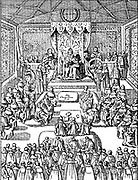 James I attends Parliament. James VI and I (19 June 1566 – 27 March 1625) was King of Scots as James VI from 24 July 1567 and King of England and Ireland as James I from the union of the English and Scottish crowns on 24 March 1603 until his death