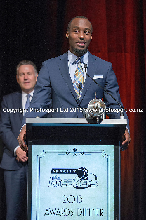 Cedric Jackson speaks after receiving the MVP Award at the SkyCity Breakers Awards, 2014-15, SkyCity Convention Centre, Auckland, New Zealand, Friday, March 20, 2015. Copyright photo: David Rowland / www.photosport.co.nz