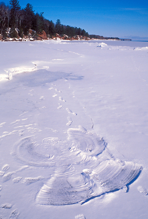 """A snow angel on the """"beach"""" of Big Bay Town Park on Madeline Island, Wis."""