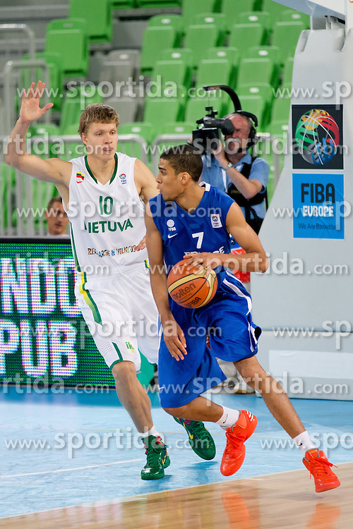 Louis Labeyrle of France vs Egidijus Mockevicius of Lithuania during basketball match between National teams of Lithuania and France in Final match of U20 Men European Championship Slovenia 2012, on July 22, 2012 in SRC Stozice, Ljubljana, Slovenia. Lithuania defeated France 50:49 and become European champions. (Photo by Matic Klansek Velej / Sportida.com)