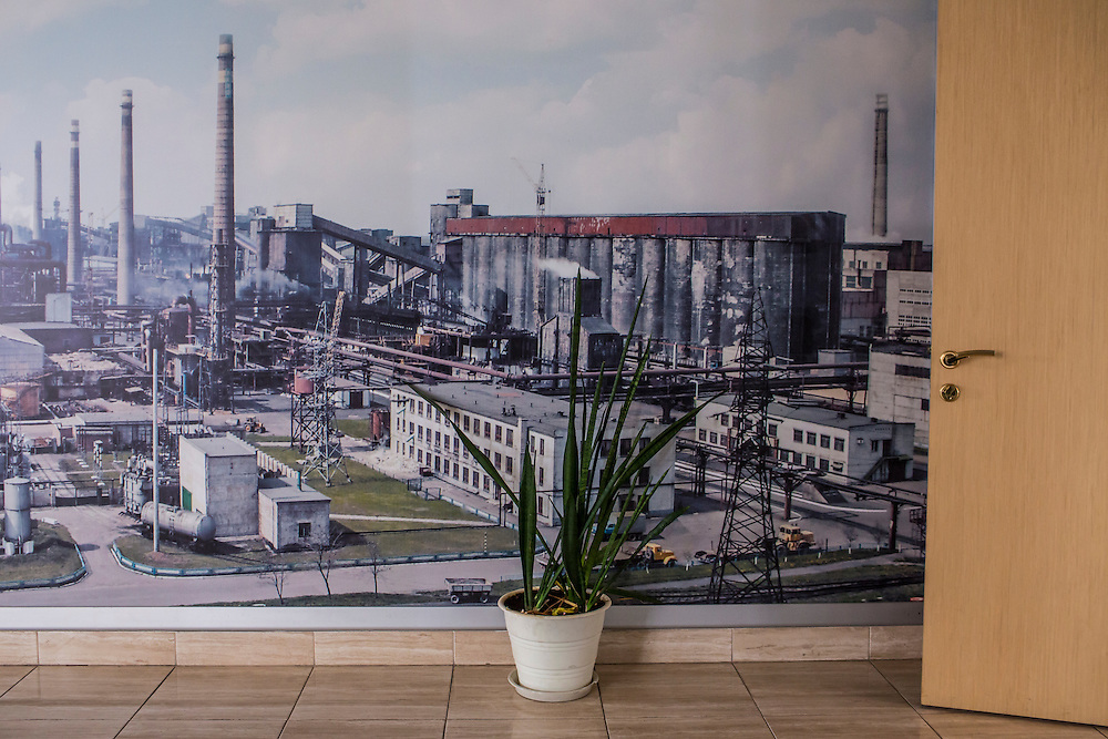 AVDIIVKA, UKRAINE - MARCH 18, 2015: A picture of the plant adorns a wall inside the offices of the Avdiivka Coke and Steel plant in Avdiivka, Ukraine. CREDIT: Brendan Hoffman for The New York Times