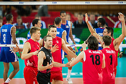 10.09.2014, Centennial Hall, Breslau, POL, FIVB WM, Kuba vs Kanada, 2. Runde, Gruppe F, im Bild Kanada radosc // Canada gladness during the FIVB Volleyball Men's World Championships 2nd Round Pool F Match beween Cuba and Canada at the Centennial Hall in Breslau, Poland on 2014/09/10. EXPA Pictures © 2014, PhotoCredit: EXPA/ Newspix/ Sebastian Borowski<br /> <br /> *****ATTENTION - for AUT, SLO, CRO, SRB, BIH, MAZ, TUR, SUI, SWE only*****
