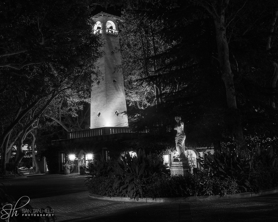 Bell tower and statue at one of the entrances to Tlaquepaque, Sedona, AZ
