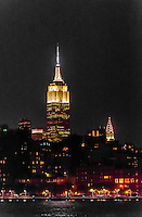 Empire State Building and Chrysler Building at night, New York, New York USA.